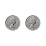 Von Treskow Studs Earrings w/ Threepence - Silver