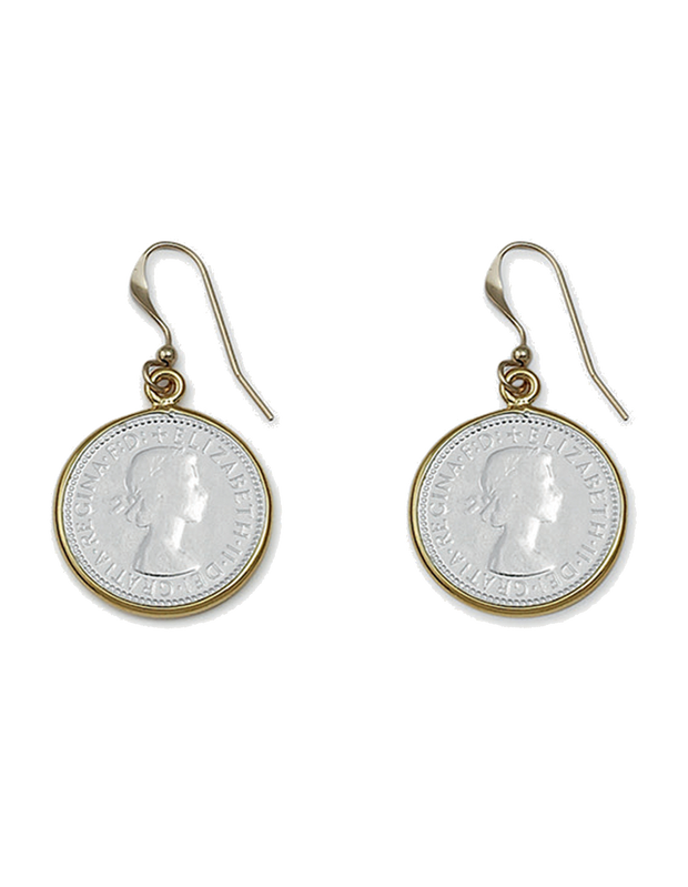 Von Treskow 2-Tone Threepence Coin Earrings - Rose Gold/Silver - Mocha