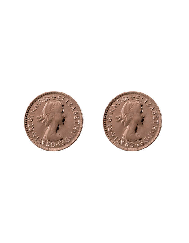 Von Treskow Studs Earrings w/ Threepence - Rose Gold - Mocha