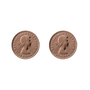 Von Treskow Studs Earrings w/ Threepence - Rose Gold