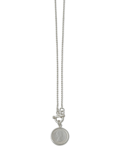 Von Treskow Ball Chain Necklace w/ Sixpence Coin - Silver - Mocha