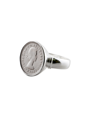 Von Treskow Authentic Threepence Coin Ring - Silver - Mocha