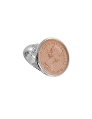 Von Treskow Authentic  Sixpence Coin Ring - Rose Gold - Mocha