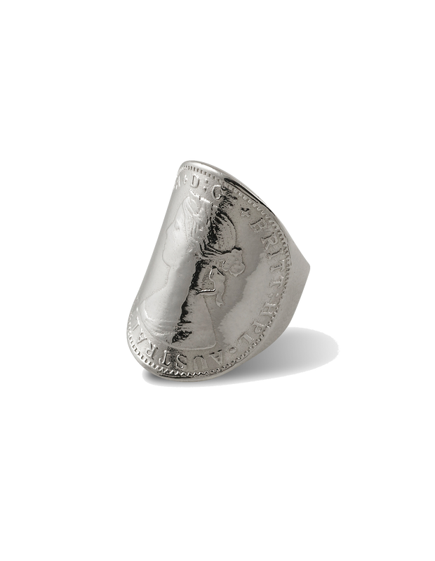 Von Treskow Large Curved Coin Ring - Silver - Mocha