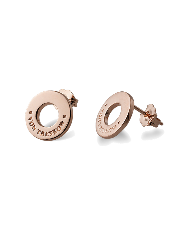 Von Treskow Studs Earrings w/ VT Disc - Rose Gold - Mocha