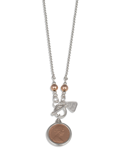 Von Treskow 2-Tone Ball Chain Necklace w/ One Cent Coin - Mocha