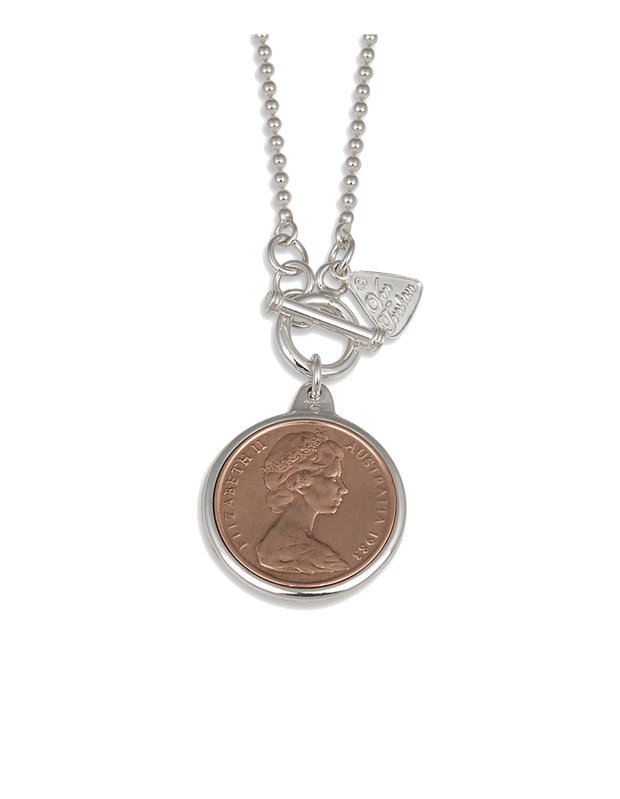Von Treskow Ball Chain Necklace w/ Two Cent Coin - Silver - Mocha