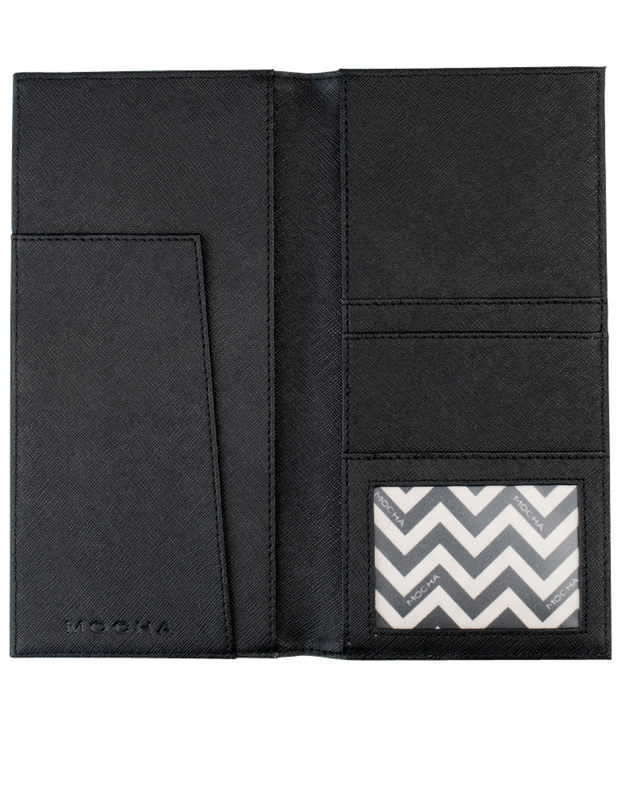 Mocha Jane Leather Slim Travel Wallet - Black - Mocha