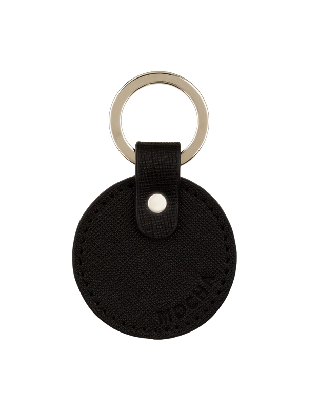 Mocha Jane Leather Key Ring - Black - Mocha