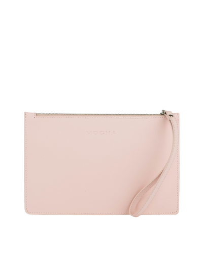 Mocha Small Jane Leather Clutch - Blush - Mocha