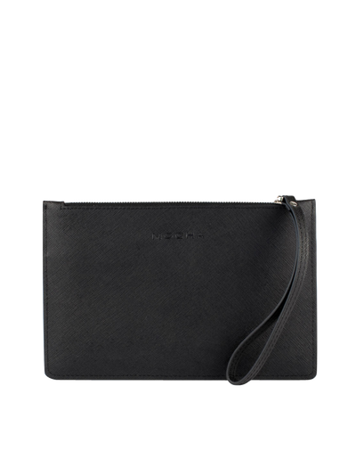 Mocha Large Jane Leather Clutch - Black - Mocha