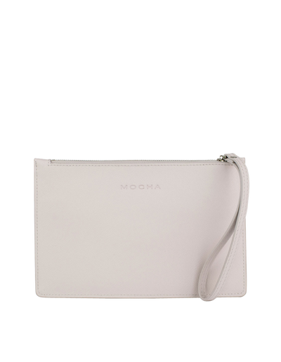 Mocha Large Jane Leather Clutch - Grey - Mocha