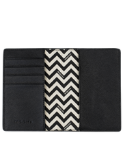 Mocha Jane Leather Passport Holder - Black - Mocha
