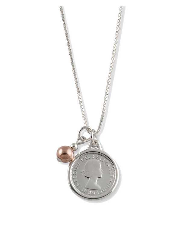 Von Treskow Box Chain Necklace w/ Threepence & Rose Gold Ball - Mocha