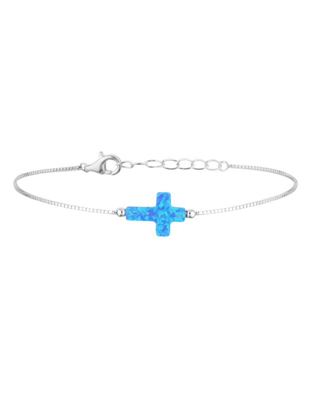 Mocha Sterling Silver Mini Cross Fine Bracelet - Blue - Mocha
