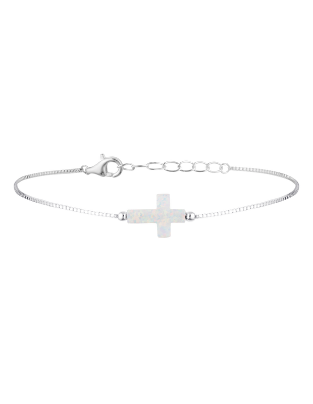 Mocha Sterling Silver Mini Cross Fine Bracelet - White - Mocha