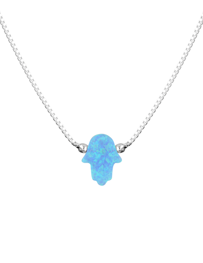 Mocha Sterling Silver Mini Hamsa Fine Necklace - Light Blue - Mocha