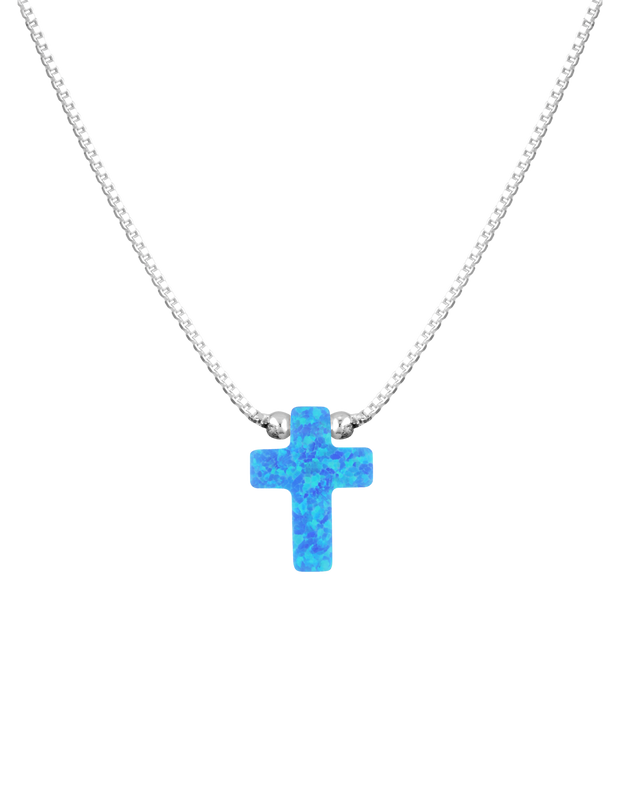 Mocha Sterling Silver Mini Cross Fine Necklace - Blue - Mocha