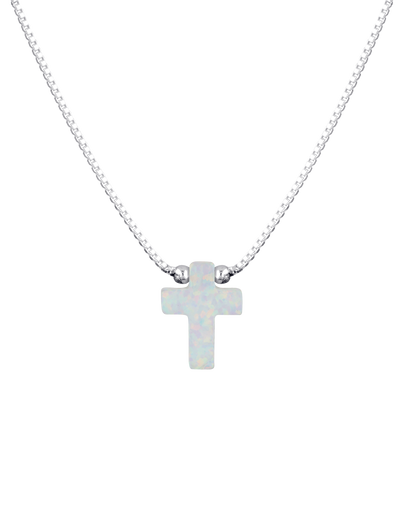 Mocha Sterling Silver Mini Cross Fine Necklace - White - Mocha
