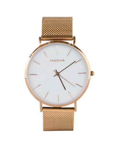 Mocha 41mm Watch - White/Rose Gold Mesh - Mocha