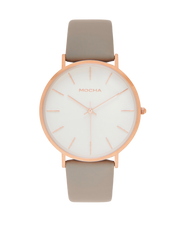 Mocha 41mm Watch - White/Rose Gold/Grey - Mocha