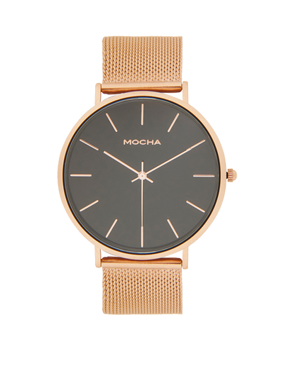 Mocha 41mm Watch- Black/Rose Gold Mesh - Mocha