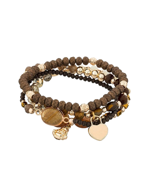 Mocha Allure Bracelet Set - Brown - Mocha