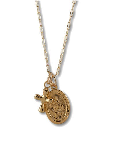Von Treskow Filligree Necklace w/ St. Christopher & Cross - Gold - Mocha