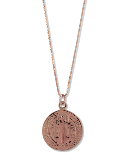 Von Treskow Box Chain Necklace w/ St. Benedict - Rose Gold - Mocha