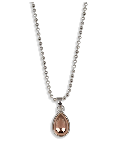Von Treskow Ball Chain Necklace w/ Pear Shape Cabochon - Rose Gold - Mocha