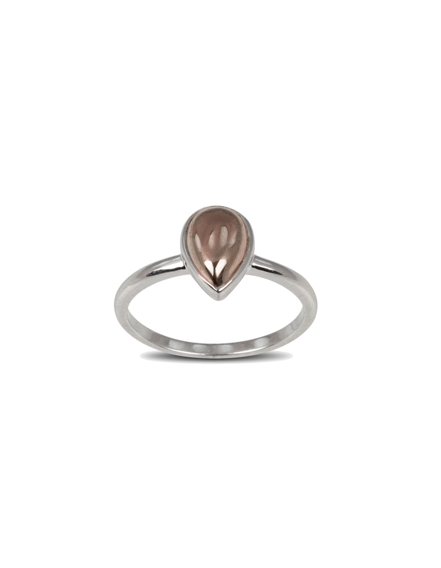 Von Treskow Fine Pear Shape Rose Gold-Filled Ring - Mocha
