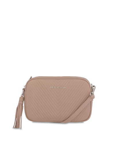 Mocha Chevron Box Leather Crossbody - Taupe - Mocha