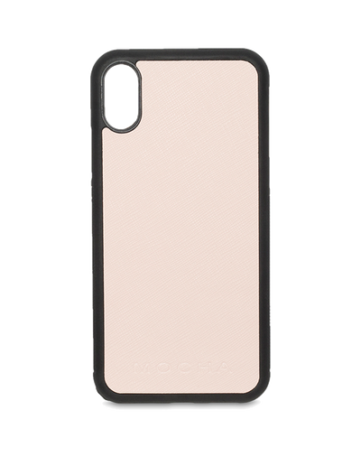 Mocha Jane Leather Hard Case For iPhone XS / X - Blush - Mocha