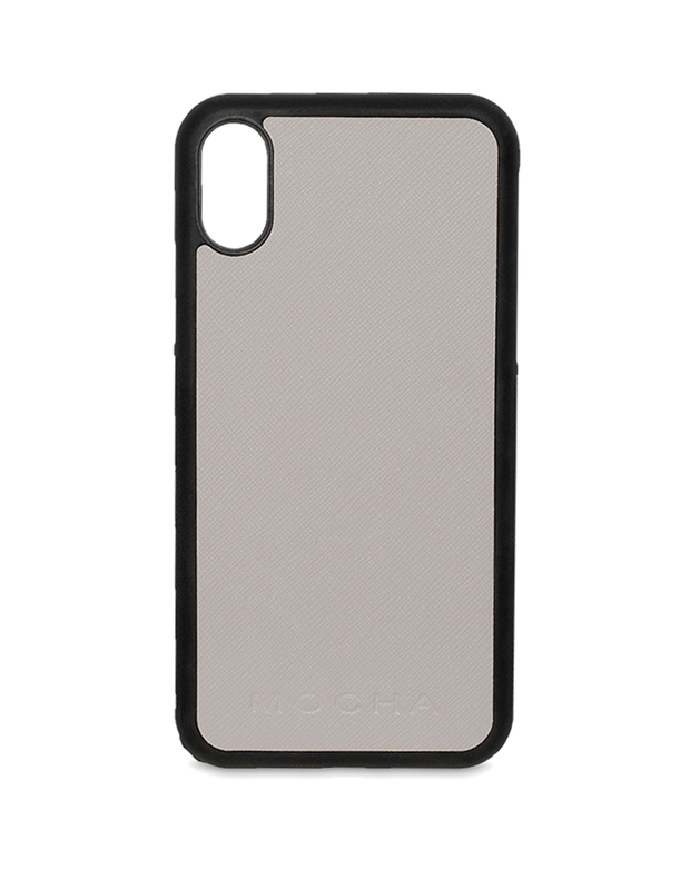 Mocha Jane Leather Hard Case For iPhone XS / X - Grey - Mocha