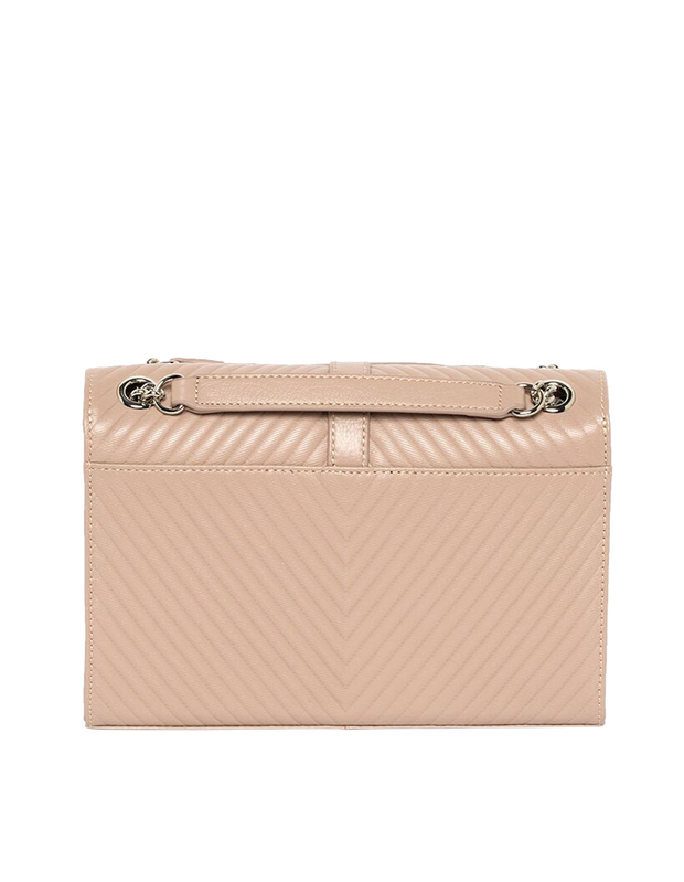 Mocha Chevron Envelope Leather Crossbody Bag - Taupe - Mocha