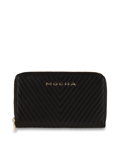 Mocha Small Chevron Leather Wallet - Black/Light Gold - Mocha