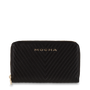 Mocha Small Chevron Leather Wallet - Black/Light Gold