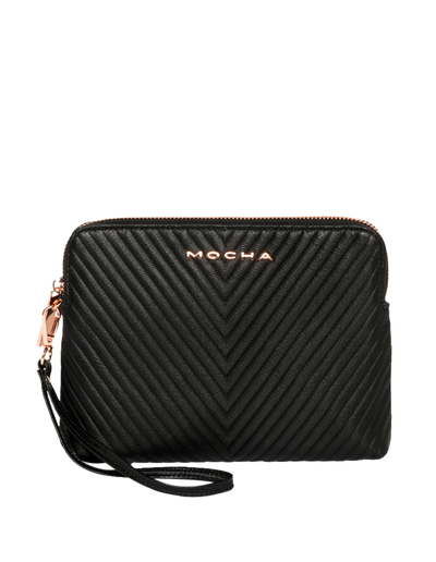 Mocha Chevron Zip Around Leather Clutch - Black - Mocha