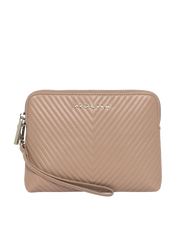 Mocha Chevron Zip Around Leather Clutch - Taupe - Mocha