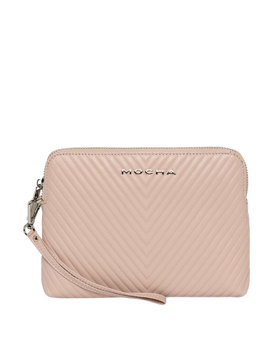 Mocha Chevron Zip Around Leather Clutch - Blush - Mocha
