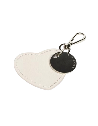 Mocha Jane Leather Heart Key Ring - Grey - Mocha