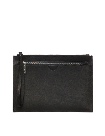Mocha Jane Double Leather Clutch - Black - Mocha