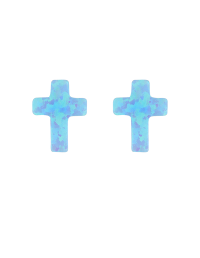 Mocha Sterling Silver Mini Cross Stud Earrings - Light Blue - Mocha