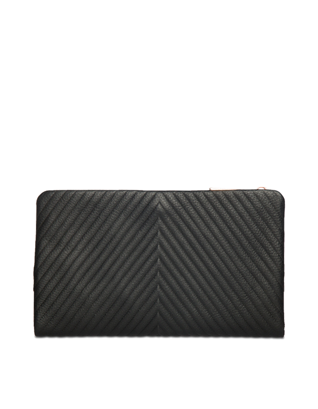 Mocha Chevron Zip-Top Leather Travel Wallet - Black - Mocha