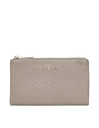 Mocha Chevron Zip-Top Leather Travel Wallet - Grey - Mocha