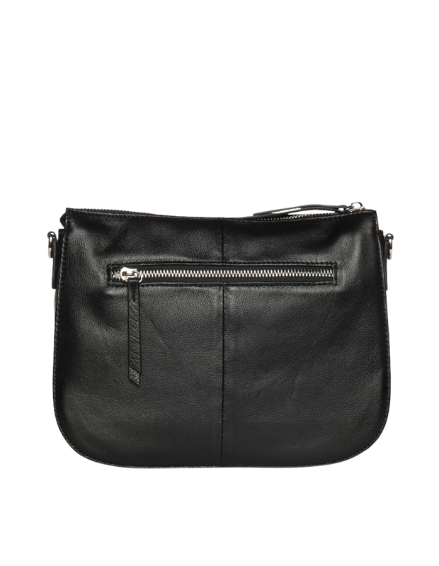 Mocha Bella Saddle Leather Crossbody Bag - Black - Mocha