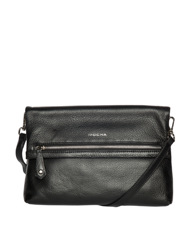 Mocha Bella Foldover Leather Crossbody Bag - Black - Mocha