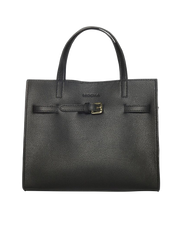 Mocha Belt Leather Tote Bag - Black - Mocha