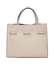 Mocha Belt Leather Tote Bag - Light Taupe - Mocha