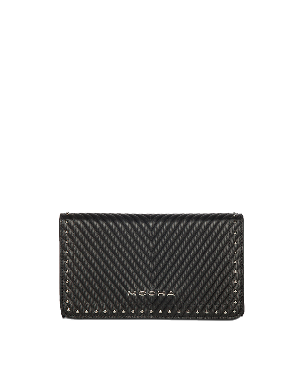 Mocha Chevron Stud Leather Mini Bag - Black - Mocha